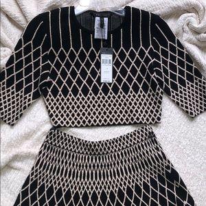 Black and cream shirt and skirt